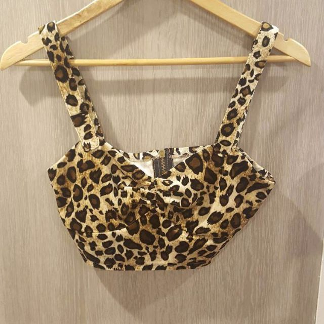 Small Velvet look Leopard Crop Top - New Condition, Never Worn - No Tags