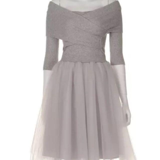 Snidel同款 針織交叉蓬紗裙洋裝 (婚禮 禮服)