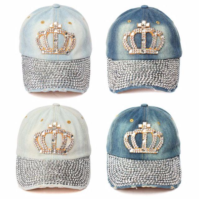 3f1e31fb8a9 Summer Style Women Rhinestone Diamante Baseball Caps Casual Cotton ...