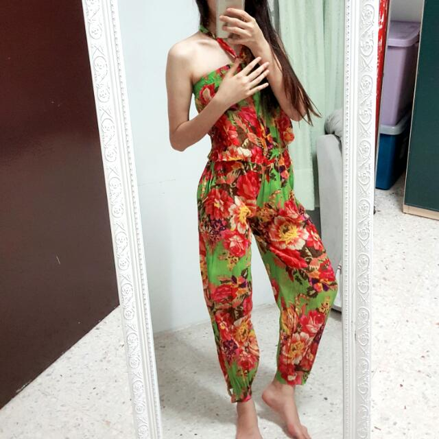 Tropical Floral Printed Chiffon Jumpsuit