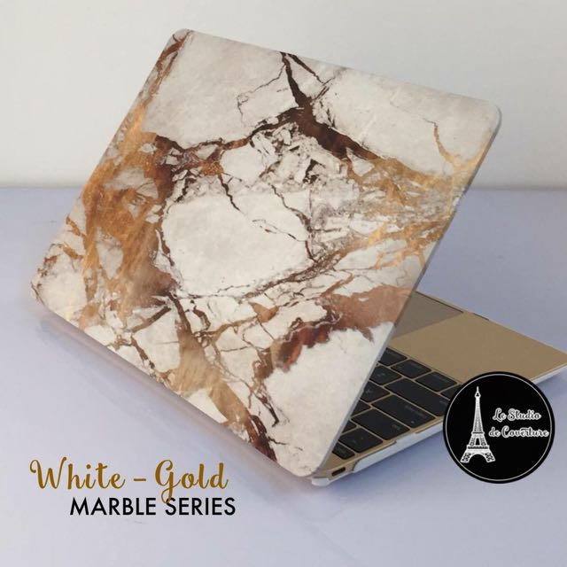 buy popular 26c2a 08ec5 White - Gold Marble MacBook Case on Carousell