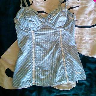 GUESS jeans Blue / White Bustier Top Small