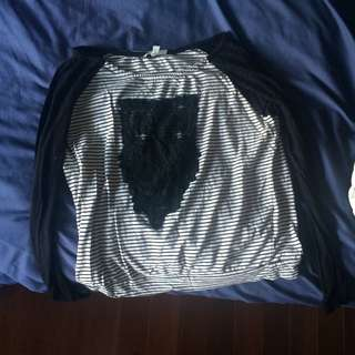Long Sleeve Black And White Owl Shirt