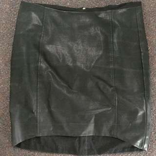 Sports girl Black Faux Leather Skirt
