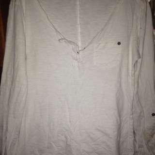 White Button Long Sleeve Top