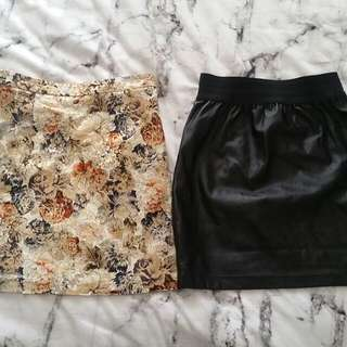 Cute Skirt Combo Mossman Print And Faux Leather