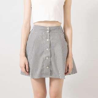 小格子高腰側口袋排釦裙