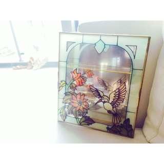 《老彩繪玻璃三層珠寶盒絕美款》全新、可掛式