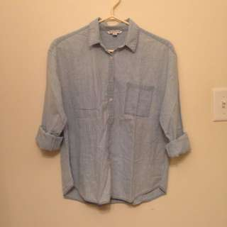 American Eagle Outfitters Faded Denim Button-Up Shirt M