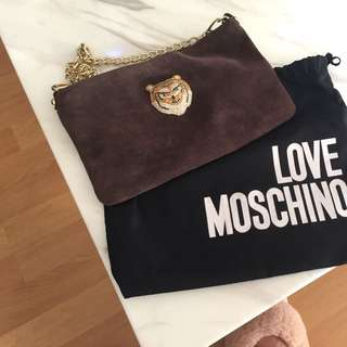 Moschino Suede Clutch with Gold Chain