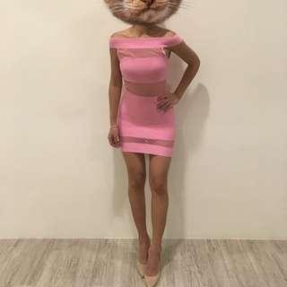 紗網透膚性感合身包臀短洋-梅紅色#女裝五折出清