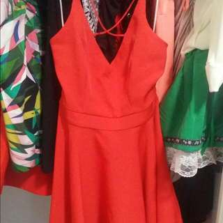 Red Size 8 Mid Length Assymetrical Dress