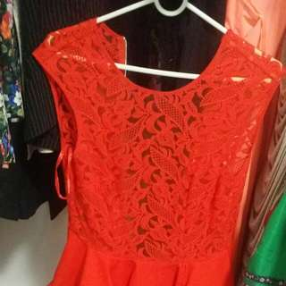 Brand New Red Lace Top Dress