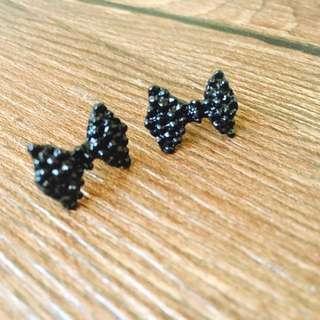 🎀(全新)💎仿鑲鑽(無鑽)蝴蝶結釘耳飾耳墜耳環
