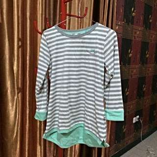 Stripe Pinguin Cotton Blouse