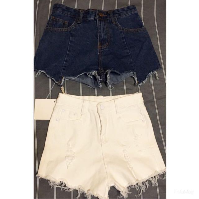 出清兩件400🙌🏼牛仔短褲不規則 彈性百搭白褲 刷破