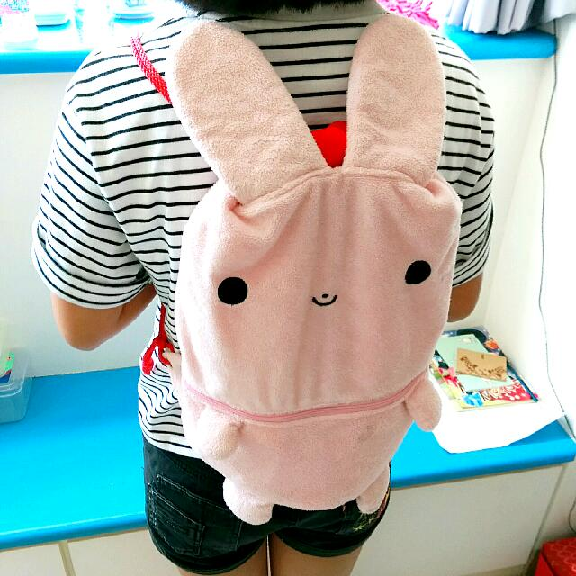 【二手】粉紅兔子後背包