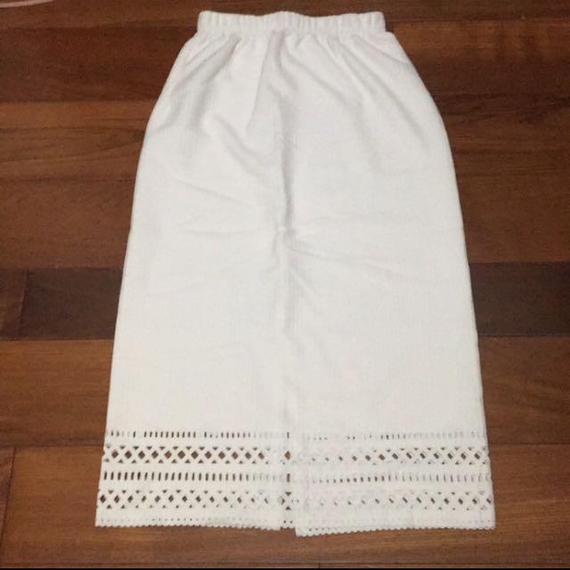 白色氣質長窄裙