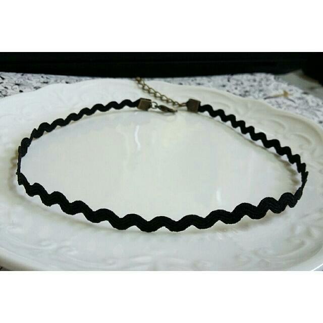 波浪紋韓版黑色頸鏈