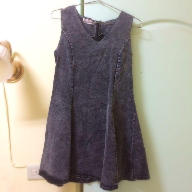 東區小店  鐵灰色牛仔洋裝 裙
