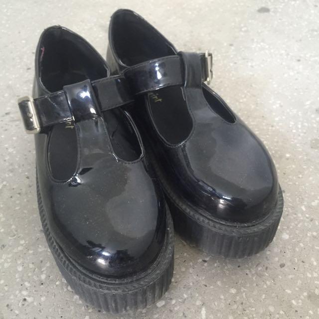 全黑 復古 厚底鞋 黑色古著