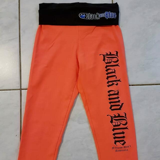 Black and Blue Bright Orange Crossfit Gym Tights XS Stretchy As New