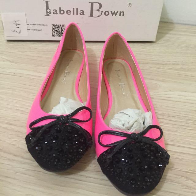 Brand New Pink Ballerina Flats Isabella Brown Size 5