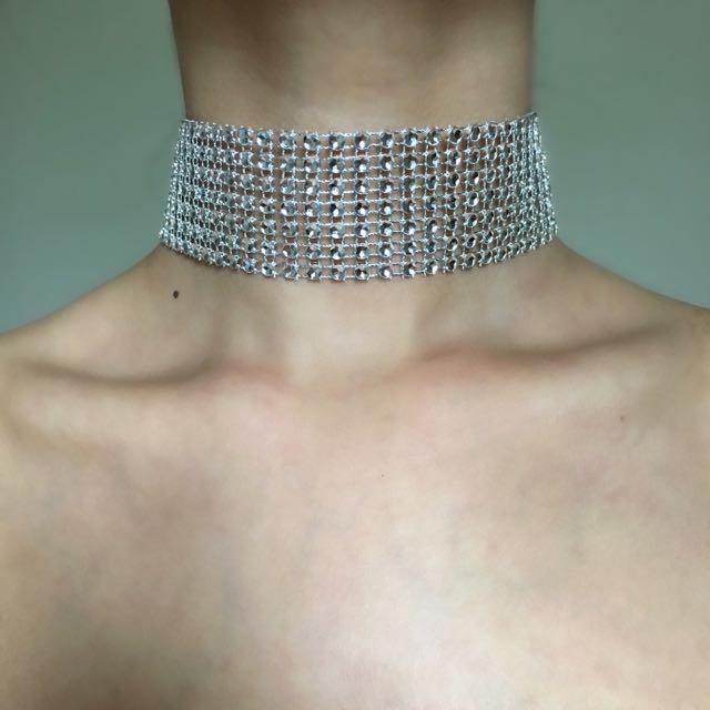 Diamond Rhinestone Imitation Thick Choker Necklace