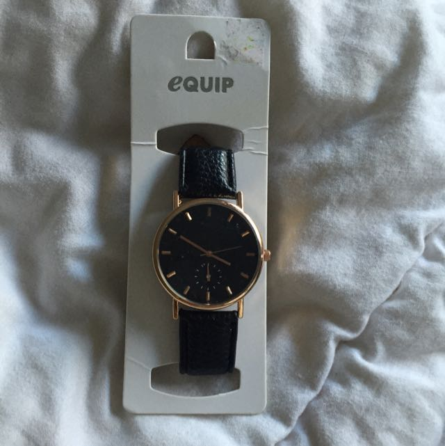 Equip Black & Gold Leather Watch