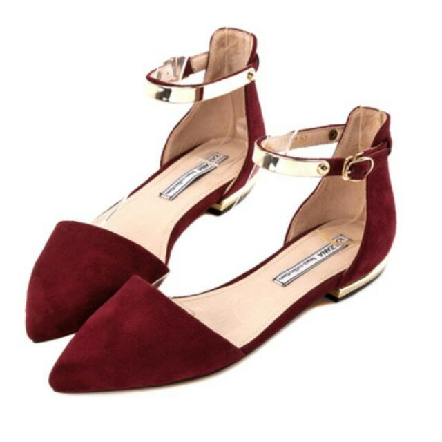 Grace gift 金屬尖頭平底鞋