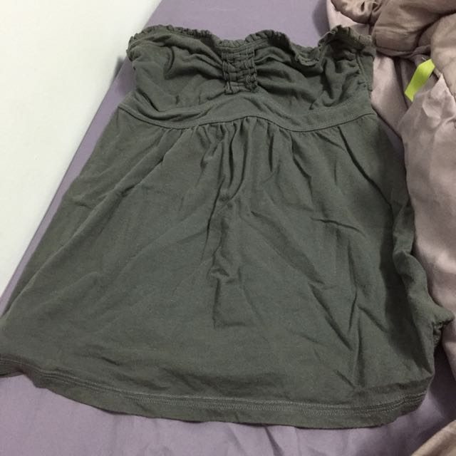 Abercrombie And Fitch Grey Strapless Top