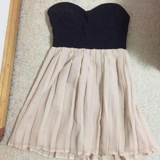'ICE' Boobtube Black And Nude Dress