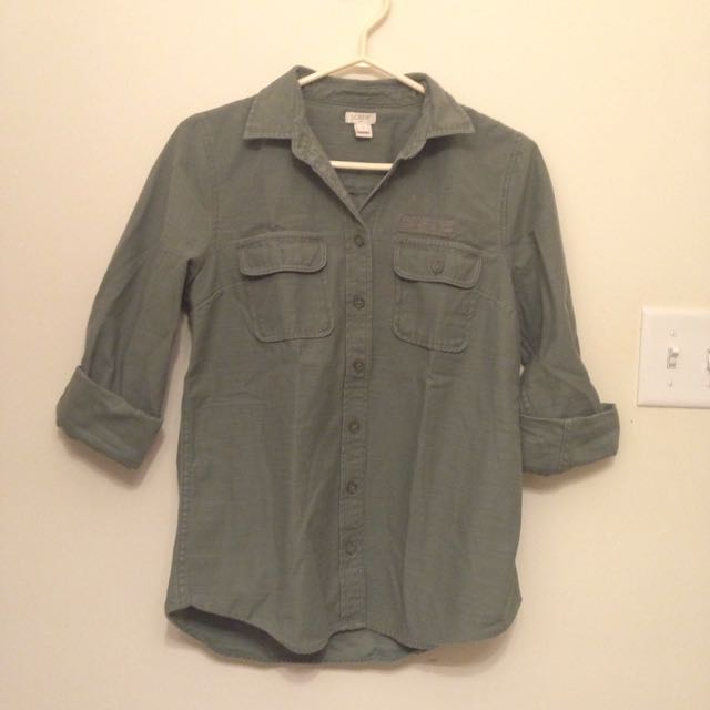 J Crew Army Green Button-Up S