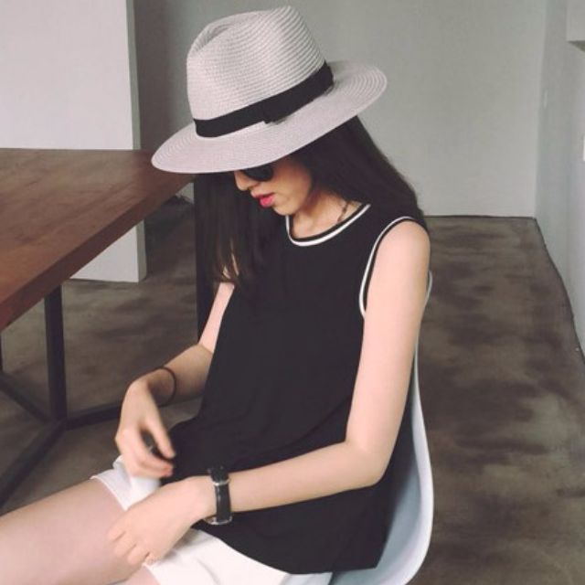 Jessie shop》歐美風簡約黑白無袖上衣