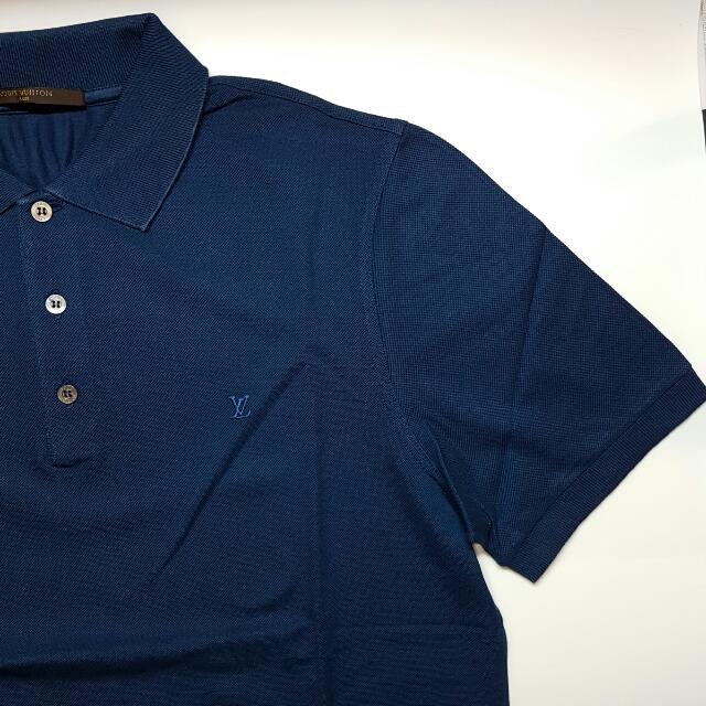 7a6faaa79bfc Louis Vuitton LV Men Polo Shirt Dark Blue Sz L Large AUTHENTIC ...