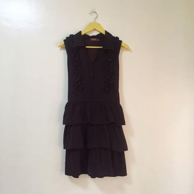 Mags Brown Ruffled Dress