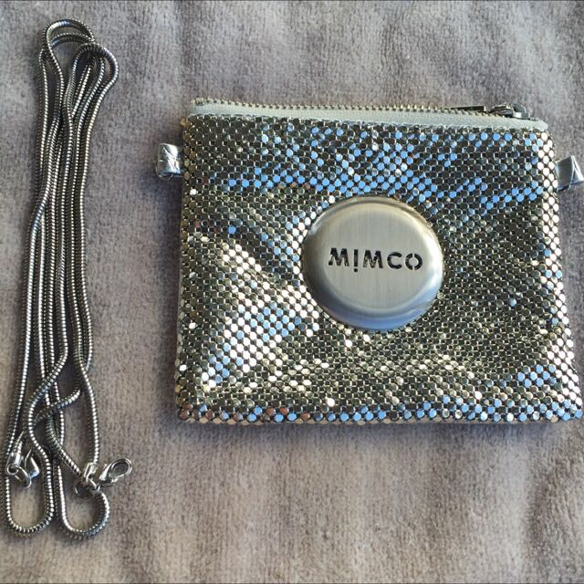 Mimco Silver Mesh Purse With Shoulder Strap