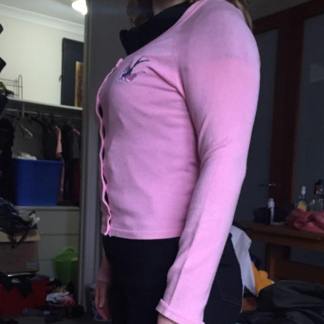 Pink Rockabilly Faster Pussycat Swallow Cardigan