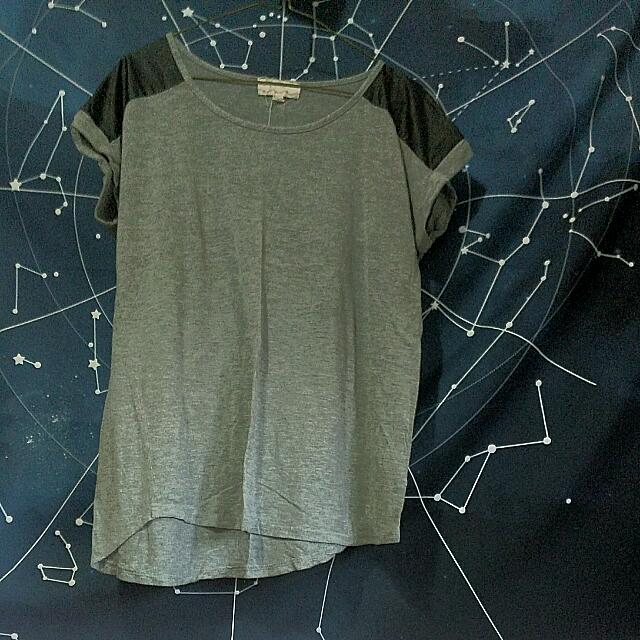 Short Sleeve Casual Top With Faux Leather Shoulder