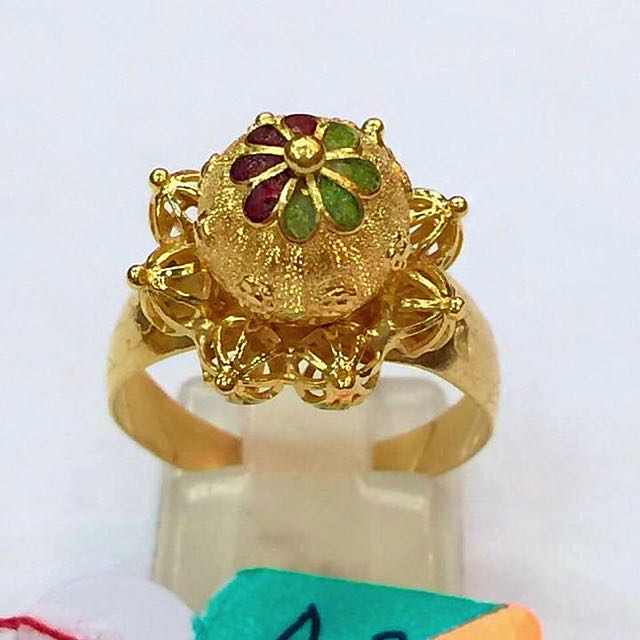 SOLID 21 ct Yellow Gold Ladies Ring