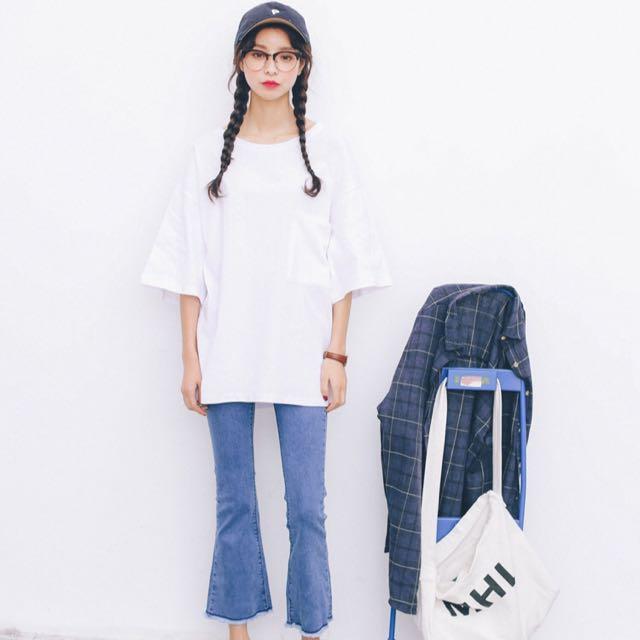 ✨現貨✨學院風簡約麻棉彩色五分袖套頭T恤