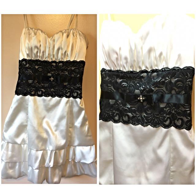 White& Black Formal Dress