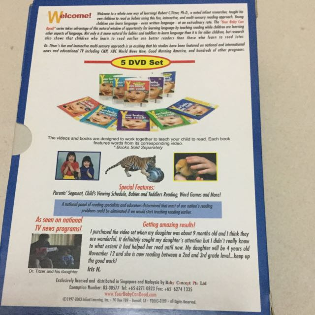 Your Baby Can Read 5x DVD+ Phonics - Learning To Read 5 VCDs