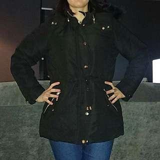 Black Fur Hood Parka Jacket Coat Size 10