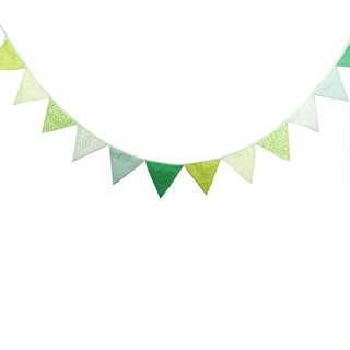 🚚 鄉村風綠色棉布三角旗/野餐/帳篷/派對/婚禮佈置/兒童房間/居家佈置