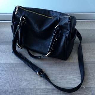 French Connection Black Pebble Vegan Leather Bag