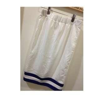 🚚 miki醬-模特私服出清 日本品牌duras 全新海軍藍色條紋長裙及膝裙棉裙窄裙