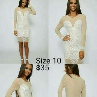 White & Nude Reverse Dress