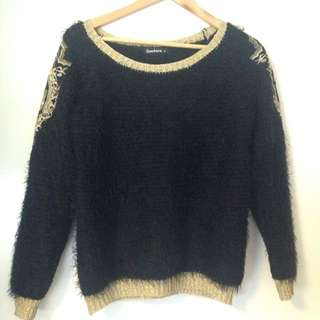 Black Fluffy Knit With Gold Embroidery