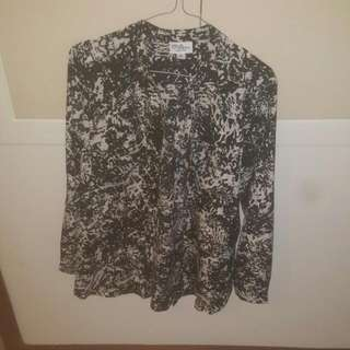 Size 10 Black And White Blouse